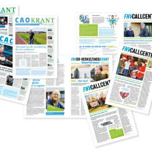 Selectie overzicht kranten Fnv, ontwerp en opmaak